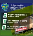 Updated Hurling Fixtures - Sunday 11th August