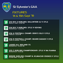 Match Fixtures 14th & 15th Sept 2019