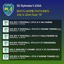Match fixtures this weekend 21st & 22nd Sept